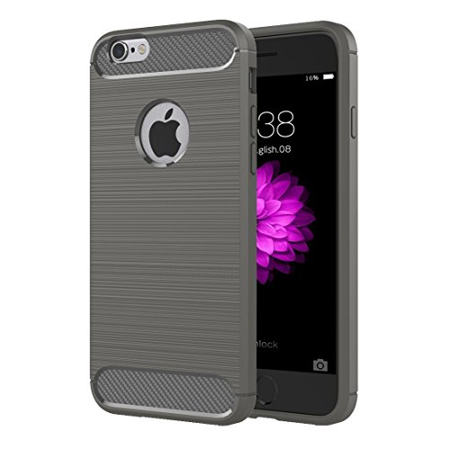 Phone case & Hülle Für iPhone 6 Plus / 6s Plus, Brushed Texture Fiber TPU Rugged Armor Schutzhülle ( Color : Black ) Grey