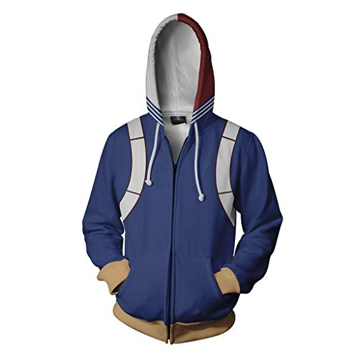 NJunicorn Uncle Boku no Hero Zip Up Hoodie Sweatshirt My Hero Academia Cosplay All Might Character Kostüm Unisex Jacke Kapuzenpullover (Art H, M)