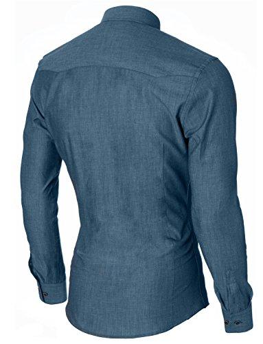 MODERNO Slim Fit Manches Longues Imitation Denim Chemise Homme (MOD1446LS) Vert
