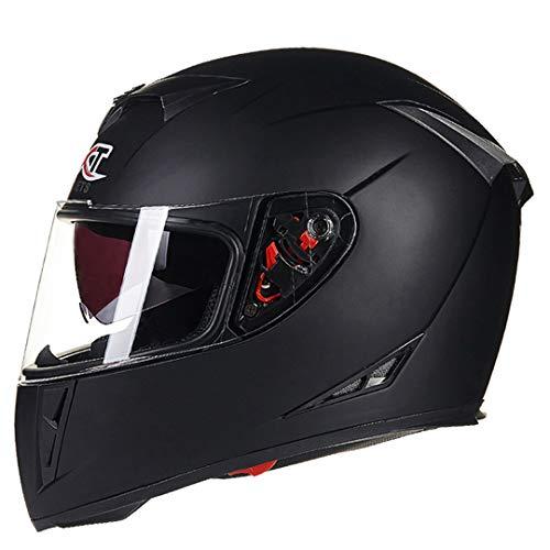 KeRuiLou Caschi Moto Flip UP Caschi Moto Winter Racing Matte Black XL