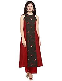 d1c28978b92a1 Inddus Red   Grey chanderi cotton kurta With Palazzo   Women Festive wear