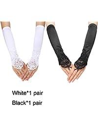 6fcf09f4c6b4 MYEDO 1920s Women Fingerless Gathered Lace Sequins Satin Bridal Party  Gloves (White&Black)