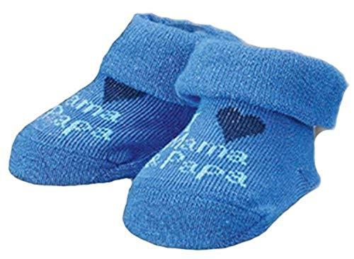 Wowarat Baby Mädchen Jungen Erstlings Söckchen Strümpfe Sneaker Socken für 0-5 Monate in Geschenkbox Blau Mama Papa