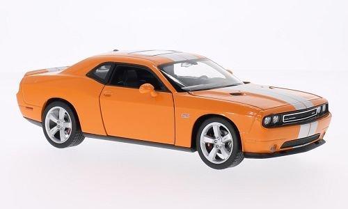 dodge-challenger-srt-anaranjado-plateado-modelo-de-auto-modello-completo-welly-124