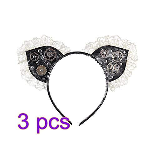 Amosfun Katze Ohr Stirnband Punk Gothic Punk Gear Hair Hoop Headwear Haarschmuck für Karneval Halloween Kostüm
