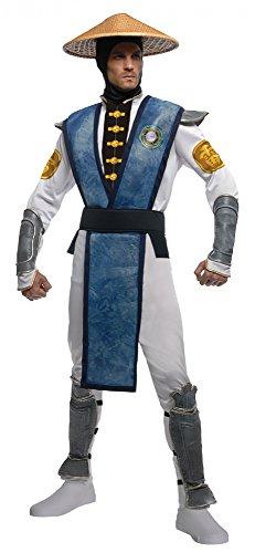 Mortal Kombat Deluxe Raiden Kostüm Herrenkostüm Ninja Tunier Kämpfer Gr STD - XL, Größe:M/L (Mortal Kombat Halloween Kostüme Für Erwachsene)
