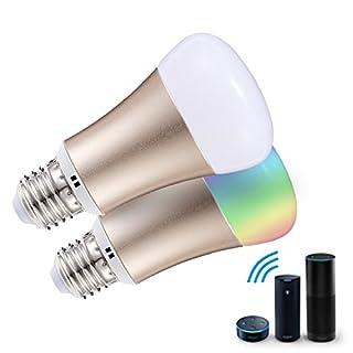 proxima1tm Smart Glühbirne, Wifi LED Leuchtmittel E27Farbe Lampe Kompatibel mit Alexa & Google Home, 16Millionen Farbwechsel und Timer, 7W–Ultra Low Energiesparlampe (Klasse A + +)