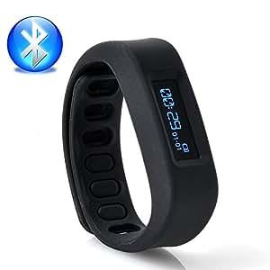 Smart Bracelet connecté Coach d'activités Fitness Bluetooth 2.1.0 Suivi Activités pédomètre + Chrono + suivi du Sommeil pour Smartphones Android 2.3.3 à 4.4 Noir BB-02