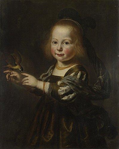 Das Museum Outlet-Dirck Santvoort-Portrait Of geertruyt Spiegel mit Finch-Canvas Print Online kaufen (76,2x 101,6cm)