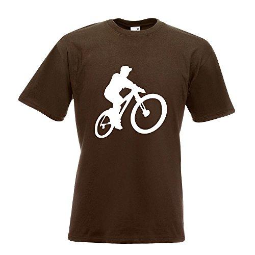 KIWISTAR - Mountainbiker MTB Downhill T-Shirt in 15 verschiedenen Farben - Herren Funshirt bedruckt Design Sprüche Spruch Motive Oberteil Baumwolle Print Größe S M L XL XXL Chocolate
