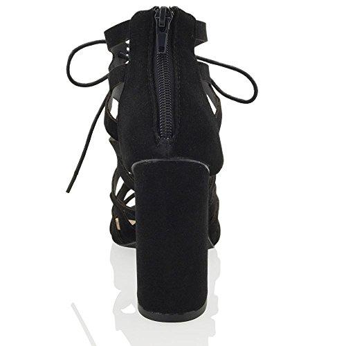 ESSEX GLAM Sandalo Donna Cut-Out Tacco a Blocco Allacciatura Nero Finto scamosciato