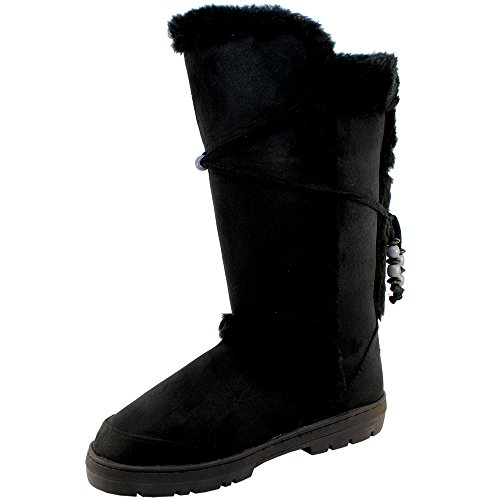 Femmes en fausse fourrure doublure semelle épaisse bottes de neige d'hiver Noir