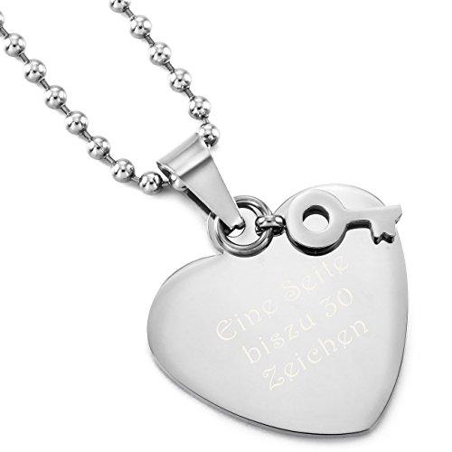MeMeDIY Silber Ton Edelstahl Anhänger Halskette Herz Schlüssel,mit 58cm Kette Gravur