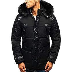 BOLF Blouson d'hiver Veste Capuche Rembourré Fourrure Homme X-Feel 88852 Noir L [4D4]