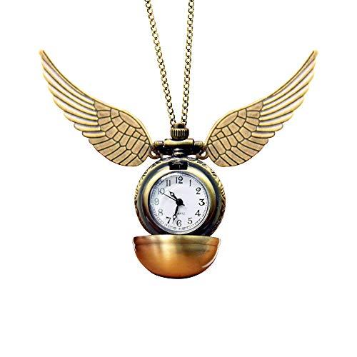 WikiMiu Kette Herren Damen, Runde Taschenuhr Big Wings hängende Uhr Anhänger, Vintage Stil Schmuck für Männer Frauen