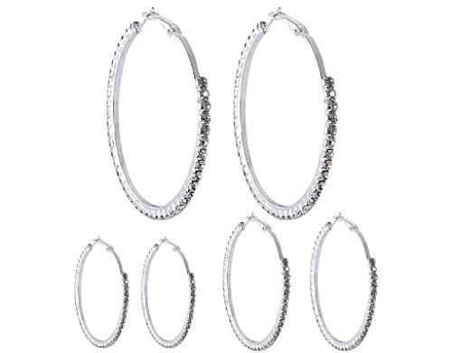 BONAMART ® 4Paare Glitzer Zirkonia Ohrringe Creolen Groß XL Silber Set 30-60mm