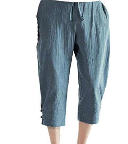 CuteRose Men's Solid Breathable Plus Size Capri Pant Linen Harem Jogger Pants Grey XL Relaxed Fit Pleated Chino-hose
