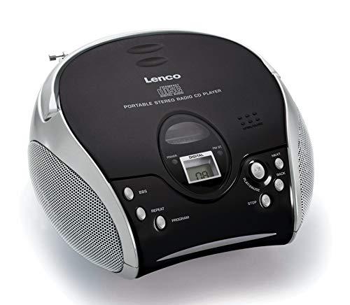 Lenco SCD24 - CD-Player für Kinder - CD-Radio - Stereoanlage - Boombox - UKW Radiotuner - Titel Speicher - 2 x 1,5 W RMS-Leistung - Netz- und Batteriebetrieb - Silber - Kleine, Cd-player Tragbare