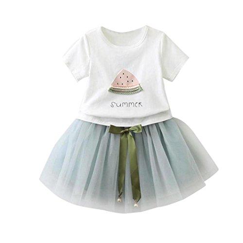 Bekleidung Longra Sommer Baby Kinder-Mädchen-Mode-Cartoon Kätzchen wenig bedruckten Kurzarm T-Shirt-Kleid Tutu Kleider Sommerkleid (2-6Jahre) (100CM 2-3Jahre, Light Blue(Wassermelone )) (Mode-mädchen-hut)
