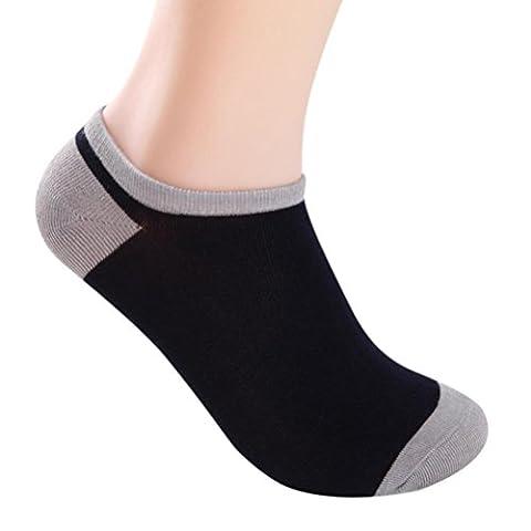 Indexp Men Bamboo Fiber Socks, 5 Pairs Splicing Color Low Cut Footwear (Navy)