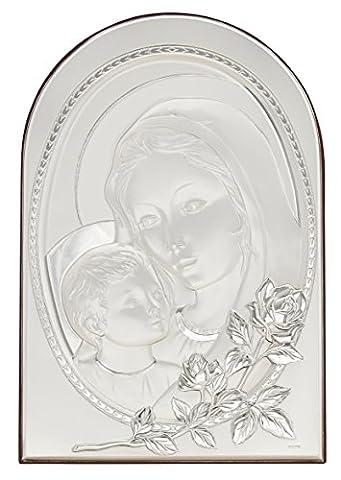 SANTA MARIA AVEC JESUS CHRIST ROSA Icône Panneau Relief Argent Artisanat Made in Italy