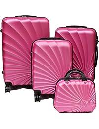 R.Leone Valigia Fino a Set 4 Trolley Rigido grande, medio, bagaglio a mano e beauty case 8 ruote in ABS 2092