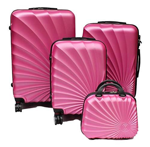 R.Leone Valigia da 1 pezzo Fino a Set 4 Trolley Rigido grande, medio, bagaglio a mano e beauty case 8 ruote in ABS 2092 (Rosa chiaro, Set 4 XS S M L)