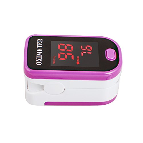Denshine LED Pulsoximetro De Dedo Portal Oxigeno En Sangre Monitor Spo2 y PR (rosa)