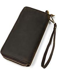 e395169506 Pochette da uomo in vera pelle con cerniera doppia borsa con cerniera 4  portafoglio intercambiabile con