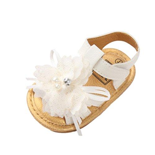 Auxma Baby Mädchen Schuhe, Neugeborenes Baby Weiße PU-Lederschuhe, Blumen Sandalen, Kleinkind Krippe Schuhe Prewalker Sandalen für 0-18 Monate (11cm/0-6 M) -