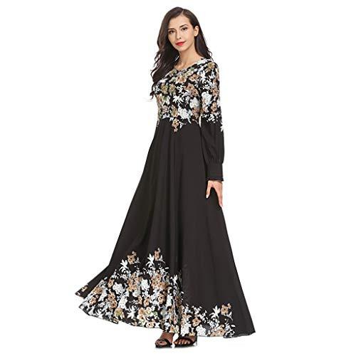 Amphia - Muslim Loser Normallack-Kleidungs-Kleid der Frauen Abaya islamischer arabischer Kaftan - Bedrucktes schlankes Kleid Temperament schlanker moslemischer Kleidrock Langer Rock ()