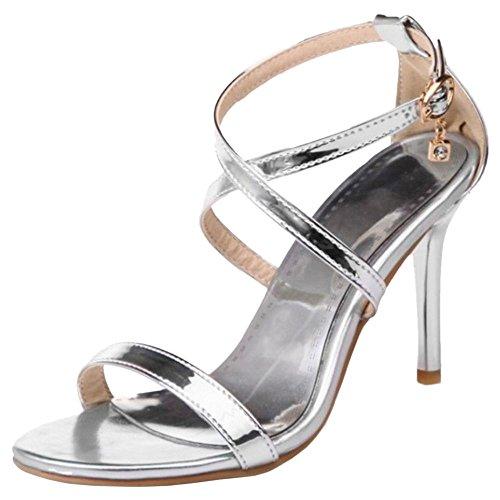 COOLCEPT Damen Mode Kreuz Riemchen Sandalen Stiletto Open Toe Schuhe Gr Silber