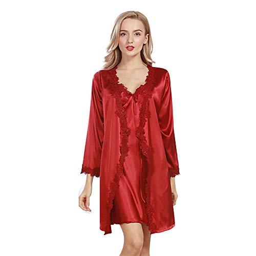 Rock Banana Kostüm - MEMIND Sexy Frau Pyjamas Nachthemd Seide Nachthemd Frühling Strickjacke Robe Anzug Spitze Elegante Rock Pyjamas,Red,M