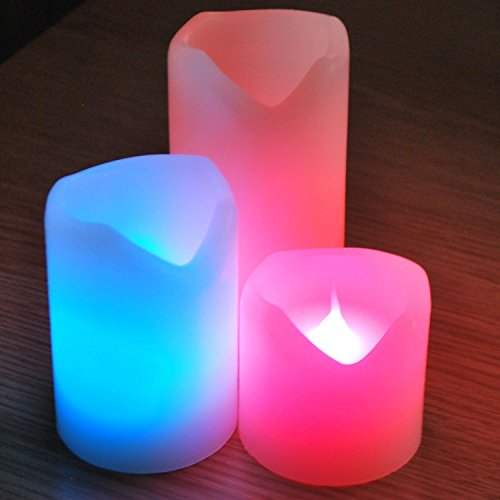 Sentik–juego de 3velas de cera sin llama parpadeo led que cambian de Color de color