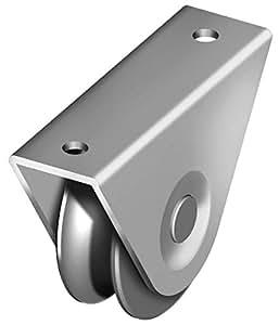 Galet gorge 1/2 ronde Ø16mm - support à visser Ø 75 - 1 roult.