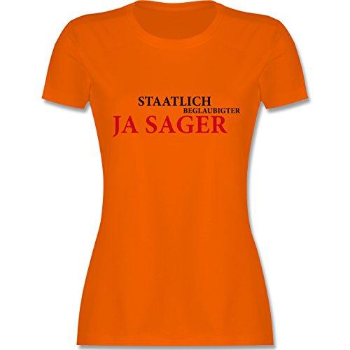 Hochzeit - Staatlich beglaubigter JA Sager - tailliertes Premium T-Shirt mit Rundhalsausschnitt für Damen Orange