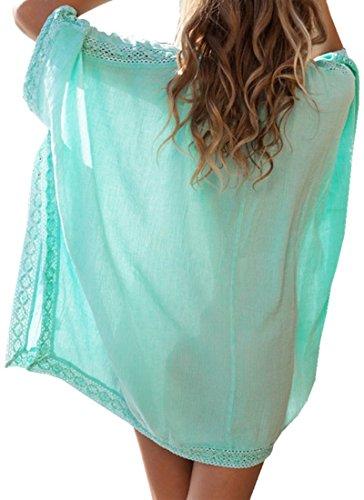 Landove T-shirt Collo A V Donna Manica 3 4 Tunica Copricostumi e Parei Mare Costumi da Bagno Spiaggia Pareo Copri Bikini Cover Up Verde