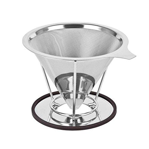Filtre à Café Permanent,GYOYO Filtre à Café Réutilisable Coffee Filter en acier inoxydable avec Support amovible pour 4 tasses