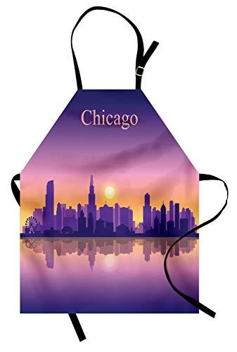 Abakuhaus Chicago Skyline Kochschürze, Sonnenuntergang im Illinois-amerikanischen Horizont hinter hohen Stadt-Schattenbildern, Maschienenwaschbar Wasserdicht kein Verblassen, Aprikose Lila Rosa