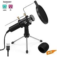 Microphone à condensateur pour studio,Jomst USB Microphone pour Audio Enregistrement,Facebook,Skype,Youtube(PC/Mac)