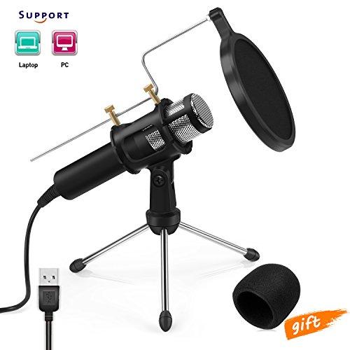 Microfono a condensatore professionale USB Microfono per Registrazioni in Studio e Radiofonici YouTube, Facebook, Twitch da Jomst(PC/Laptop)