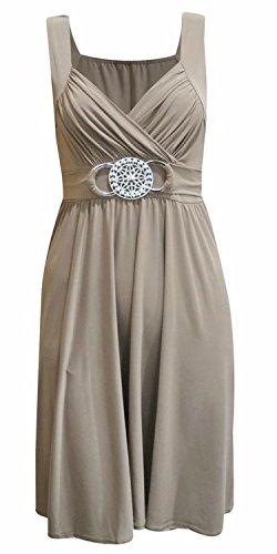 Neue Frauen Plus Size knielangen Wunderschöne Buckle Abend Kleid 36-54 Mokka