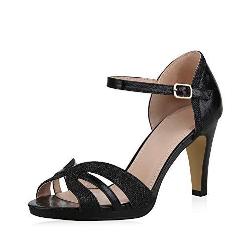 SCARPE VITA Damen Pumps Sandaletten Riemchensandaletten Elegante Schuhe Stiletto High Heels Metallic Glitzer 183236 Schwarz Glitzer 40 -