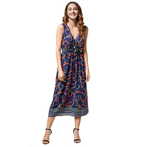 DIPOLA Kleider Damen drucken Sommer Böhmischen Armellose Zwei Kleid Abendkleid Cocktailkleid Partykleid