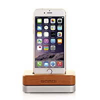 SAMDI For iPhone Charging Station, Wooden Cell Phone Charging Dock Stand Holder with Stable Aluminum Base for iPhone SE 5 5s, 6 6s 6Plus, 7 7Plus and other Phone - Bamboo + Silve
