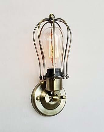 purelume vintage applique murale en laiton avec ampoule edison luminaires et eclairage. Black Bedroom Furniture Sets. Home Design Ideas