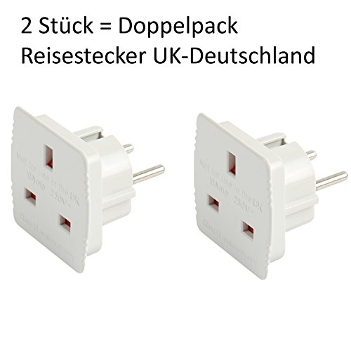 2 Stück ! (Doppelpack) Reisestecker-Adapter UK-Deutschland In Weiß Von Amathings Europäische Elektro-usb-adapter
