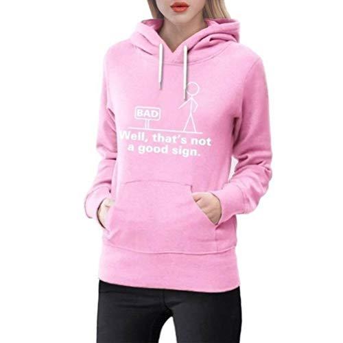D-X Stilvoller und Einfacher, Neunfarbiger, Bequemer Damen-Pullover mit Kapuze, Rosa, m -