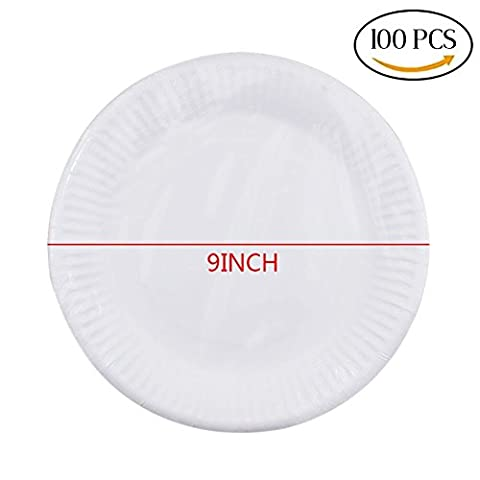 CCINEE 9 Inch 100 Pieces White Disposable Paper Party Plates