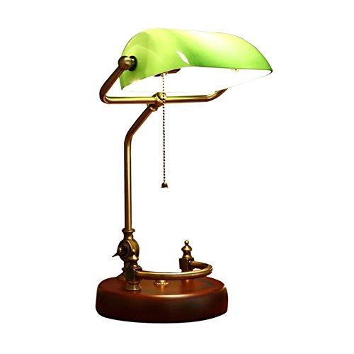 Glas Traditionellen Schatten (Tischlampe Tischlampen Traditionelle Retro Bankers mit grünem Glas Schatten Kupfer E27 Schreibtischlampe LED 19 * 40cm)
